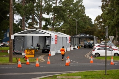 MELBOURNE, AUSTRALIA - JULY 2: A view of the pop up tents where Medical personnel take Coronavirus swab tests at Keilor Community Hub Mobile Testing Site during COVID 19 on 2 July, 2020 in Melbourne, Australia. Stage 3 lockdowns have once again been reinstated across 36 Melbourne Suburbs at midnight today after Daniel Andrews announced on the 30th June that Coronavirus cases had spiked following a testing blitz in the affected suburbs. Overnight, and additional 77 cases were uncovered from a total of 26,000 tests. Residents can only leave their home for four reasons; Shopping for food or supplies, care and care giving, exercise and study or work. Anyone caught flouting the rules will be slapped with a $1,652 fine while business could be fined $10,000. Under Victoria's State of Emergency powers, which have once again been extended to the 19th July, police have unprecedented powers to enforce lockdown laws for both residents as well as visitors entering the 'no-go' zones. This comes despite the positive rate of testing remaining stable at 0.3% indicating that the recent spike is more a function of extra testing, rather than an increase in viral spread. The new restrictions will remain in place for four weeks and will extend to the whole state if the situation does not improve. (Photo by Speed Media/Icon Sportswire)