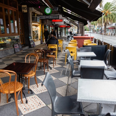 MELBOURNE, AUSTRALIA - June 01: Amid the rain and cold weather, empty chairs and tables are seen lining Acland Street, St Kilda as cafes, restaurants and bars are allowed to reopen today for up to 20 patrons on 01 June, 2020 in Melbourne, Australia. Victoria is open for business as cafes, bars and restaurants once again open their doors for a maximum of 20 sit down patrons from today. The Victorian Premier Daniel Andrews, announced on the 16th May that all cafes, restaurants and bars will  be able to reopen for up to 20 patrons per enclosed space from the 1st of June and then a further easing of restrictions to 50 patrons on the 22nd of June. It comes as welcome news to the hospitality industry as it reels under the COVID-19 restrictions imposed on it for the past 3 months. Many will never trade again, and many are unable to open with so few patrons allowed and plan to wait for the next lifting of restrictions allowing 50 customers at any one time. (Photo by Speed Media/Icon Sportswire)