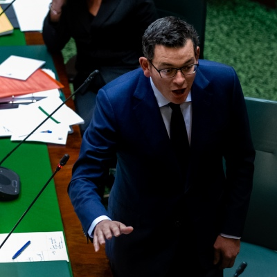 MELBOURNE, AUSTRALIA - June 02: Premier Daniel Andrews bats off questions from the opposition over the Belt and Road fiasco during a combative Question Time on 02 June, 2020 in Melbourne, Australia. After adjourning due to COVID-19, Victoria's parliament has returned to scheduled sittings from today albeit with COVIDSafe restrictions still in place along with a reduced number of MP's sitting.  It was announced on the 20th May that both houses will sit from June 2 to 4 and 16 to 18. It comes amid heavy criticism aimed at the Andrews led government over the deal with China's Belt and Road Initiative. (Photo by Speed Media/Icon Sportswire)