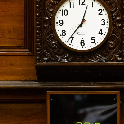 MELBOURNE, AUSTRALIA - June 02: A view of the clock and timer inside the Legislative Assembly during Question Time  on 02 June, 2020 in Melbourne, Australia. After adjourning due to COVID-19, Victoria's parliament has returned to scheduled sittings from today albeit with COVIDSafe restrictions still in place along with a reduced number of MP's sitting.  It was announced on the 20th May that both houses will sit from June 2 to 4 and 16 to 18. It comes amid heavy criticism aimed at the Andrews led government over the deal with China's Belt and Road Initiative. (Photo by Speed Media/Icon Sportswire)
