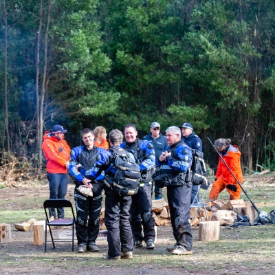 Police Search and Rescue gather at the staging area after William was found safe at Mt Disappointment in Victoria. An air-and-ground search is continuing for lost Victorian teenager William Callaghan, who suffers from non-verbal autism and is lost in steep and rugged terrain in Victoria after temperatures dropped below freezing overnight.