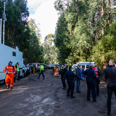 Some of the 500 strong volunteers, Police, SES and CFA at the main staging area where after William was found safe at Mt Disappointment in Victoria. An air-and-ground search is continuing for lost Victorian teenager William Callaghan, who suffers from non-verbal autism and is lost in steep and rugged terrain in Victoria after temperatures dropped below freezing overnight.