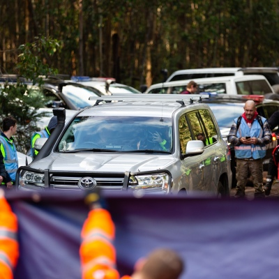 William arrives in a 4WD with his Step Father and police at Mt Disappointment in Victoria. An air-and-ground search is continuing for lost Victorian teenager William Callaghan, who suffers from non-verbal autism and is lost in steep and rugged terrain in Victoria after temperatures dropped below freezing overnight.