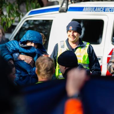 William is reunited with his family, his step father is seen carrying him to the medical tent Mt Disappointment in Victoria. An air-and-ground search is continuing for lost Victorian teenager William Callaghan, who suffers from non-verbal autism and is lost in steep and rugged terrain in Victoria after temperatures dropped below freezing overnight.