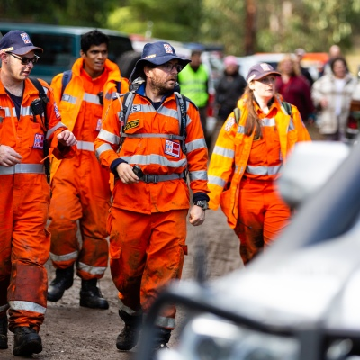 SES personnel arrive back at the staging area after 14 year old William Callaghan was found by a local bushman at Mt Disappointment in Victoria. An air-and-ground search is continuing for lost Victorian teenager William Callaghan, who suffers from non-verbal autism and is lost in steep and rugged terrain in Victoria after temperatures dropped below freezing overnight.
