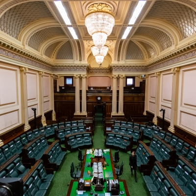 MELBOURNE, AUSTRALIA - June 16:  The calm before the storm, an empty Legislative Assembly awaits ministers to enter the chamber as Question Time is about to begin during Question Time on 16 June, 2020 in Melbourne, Australia. Government in Crisis as secret tapes reveal industrial scale branch stacking and corruption accusations towards labor senior Minister Adem Somyurek, along with two other ministers Marlene Kairouz and Robin Scott. Premier Daniel Andrews sacked Mr Somyurek and both Ms Kairouz and Mr Scott later resigned. Premier Andrews denies any knowledge of the of the scandal and repercussions will ripple all the way up to the Federal Labor Party.  (Photo by Speed Media/Icon Sportswire)