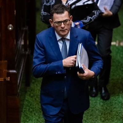 MELBOURNE, AUSTRALIA - June 16: An embattled Premier Daniel Andrews enters the chamber amid a Branch Stacking Scandal within his party during Question Time on 16 June, 2020 in Melbourne, Australia. Government in Crisis as secret tapes reveal industrial scale branch stacking and corruption accusations towards labor senior Minister Adem Somyurek, along with two other ministers Marlene Kairouz and Robin Scott. Premier Daniel Andrews sacked Mr Somyurek and both Ms Kairouz and Mr Scott later resigned. Premier Andrews denies any knowledge of the of the scandal and repercussions will ripple all the way up to the Federal Labor Party.  (Photo by Speed Media/Icon Sportswire)