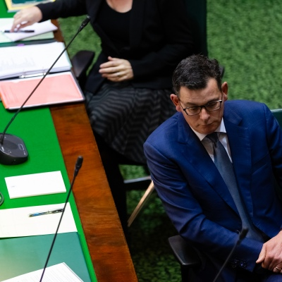 MELBOURNE, AUSTRALIA - June 16:   Embattled Premier Daniel Andrews deflects pointed questions over the latest scandal to hit his government during Question Time on 16 June, 2020 in Melbourne, Australia. Government in Crisis as secret tapes reveal industrial scale branch stacking and corruption accusations towards labor senior Minister Adem Somyurek, along with two other ministers Marlene Kairouz and Robin Scott. Premier Daniel Andrews sacked Mr Somyurek and both Ms Kairouz and Mr Scott later resigned. Premier Andrews denies any knowledge of the of the scandal and repercussions will ripple all the way up to the Federal Labor Party.  (Photo by Speed Media/Icon Sportswire)