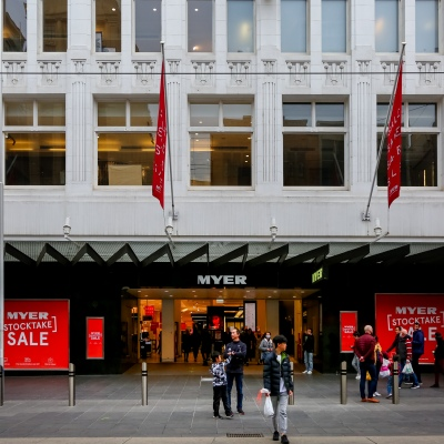 MELBOURNE, AUSTRALIA - June 21: A view of the main entrance of Myer Department Store in Bourke Street as restrictions are being tightened in Victoria during COVID 19 on 21 June, 2020 in Melbourne, Australia. One of Australia's largest insurers will no longer provide cover for suppliers of struggling retailers Myer and David Jones after deeming the traditional department store sector too risky to insure. In a letter from QBE Insurance to Suppliers, the $13.5 billion insurer said it would no longer provide trade credit insurance for Myer or David Jones due to concerns the two retailers may not survive the COVID-19 crisis. (Photo by Speed Media/Icon Sportswire)