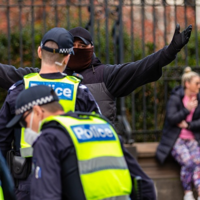 MELBOURNE, AUSTRALIA - MAY 10: Police and protesters clash during COVID 19 Anti Lockdown protest at Parliament House on 10 May, 2020 in Melbourne, Australia. (Photo by Speed Media/Icon Sportswire)
