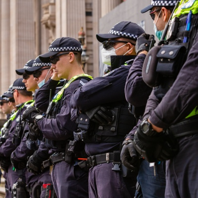 MELBOURNE, AUSTRALIA - MAY 10: At least 200 Police officers look on as protesters gather outside Parliament House in Melbourne, May 10 during COVID 19 Anti Lockdown protest at Parliament House on 10 May, 2020 in Melbourne, Australia. (Photo by Speed Media/Icon Sportswire)