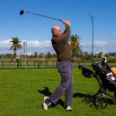 MELBOURNE, AUSTRALIA - MAY 13: Ex committee member Warren hits off at the Albert Park Golf Course to play his first game of golf in two months as restrictions are being eased in Victoria during COVID 19 on 13 May, 2020 in Melbourne, Australia. (Photo by Speed Media/Icon Sportswire)