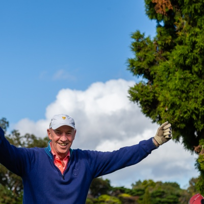 MELBOURNE, AUSTRALIA - MAY 13:Albert Park Golf Course Club Captain, Chris, can barely contain himself as he returns to the green after two months as restrictions are being eased in Victoria during COVID 19 on 13 May, 2020 in Melbourne, Australia. (Photo by Speed Media/Icon Sportswire)