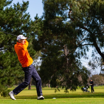 MELBOURNE, AUSTRALIA - MAY 13:Avid golfer, Christian, tee's off at the Albert Park Golf Course after two months in hiatus as restrictions are being eased in Victoria during COVID 19 on 13 May, 2020 in Melbourne, Australia. (Photo by Speed Media/Icon Sportswire)