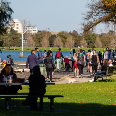 MELBOURNE, AUSTRALIA - MAY 16: Melbournians made the most of idyllic Autumn weather and flocked to Albert Pack Lake as restrictions are being eased in Victoria during COVID 19 on 16 May, 2020 in Melbourne, Australia. (Photo by Speed Media/Icon Sportswire)