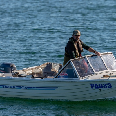 MELBOURNE, AUSTRALIA - MAY 16: A motorboat is seen on the bay as Boating and fishing is once again allowed in Victoria as restrictions are being eased in Victoria during COVID 19 on 16 May, 2020 in Melbourne, Australia. (Photo by Speed Media/Icon Sportswire)