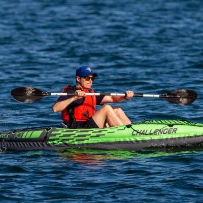 MELBOURNE, AUSTRALIA - MAY 16: A man paddling an inflatable kayak is seen on Port Phillip Bay as restrictions are being eased in Victoria during COVID 19 on 16 May, 2020 in Melbourne, Australia. (Photo by Speed Media/Icon Sportswire)