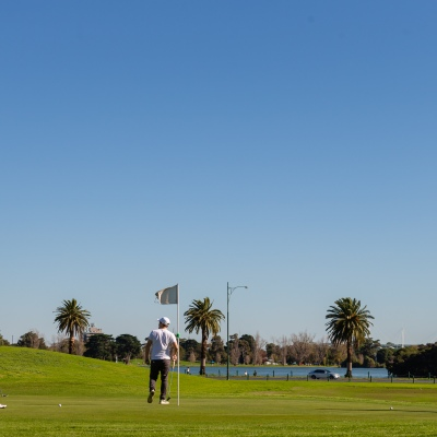 MELBOURNE, AUSTRALIA - MAY 16: Golfers enjoy a round in the perfect weather at the Albert Park Golf Course as restrictions are being eased in Victoria during COVID 19 on 16 May, 2020 in Melbourne, Australia. (Photo by Speed Media/Icon Sportswire)