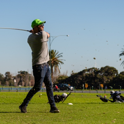 MELBOURNE, AUSTRALIA - MAY 16: A man tee's off at Albert Park Golf Course on the first weekend of freedom which Melbourne has enjoyed in two months as restrictions are being eased in Victoria during COVID 19 on 16 May, 2020 in Melbourne, Australia. (Photo by Speed Media/Icon Sportswire)