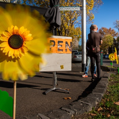 MELBOURNE, AUSTRALIA - MAY 16: A sign of better times as a sun flower spins in the wind outside of a cafe in Middle Park as restrictions are being eased in Victoria during COVID 19 on 16 May, 2020 in Melbourne, Australia. (Photo by Speed Media/Icon Sportswire)