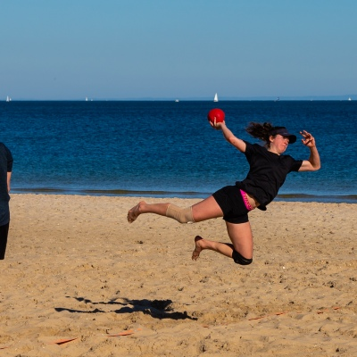 MELBOURNE, AUSTRALIA - MAY 16: A game of Beach Handball is seen on Albert Park Beach as restrictions are being eased in Victoria during COVID 19 on 16 May, 2020 in Melbourne, Australia. (Photo by Speed Media/Icon Sportswire)