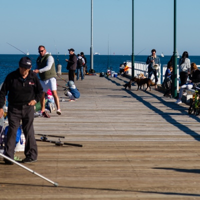MELBOURNE, AUSTRALIA - MAY 16: On the first weekend of relative freedom, many fishers flocked to the Piers lining Melbourne's beaches as restrictions are being eased in Victoria during COVID 19 on 16 May, 2020 in Melbourne, Australia. (Photo by Speed Media/Icon Sportswire)