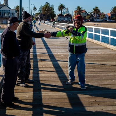 MELBOURNE, AUSTRALIA - MAY 16: Amid strict and widely known social distancing restrictions, two men were seen shaking hands on a pier in Melbourne as restrictions are being eased in Victoria during COVID 19 on 16 May, 2020 in Melbourne, Australia. (Photo by Speed Media/Icon Sportswire)
