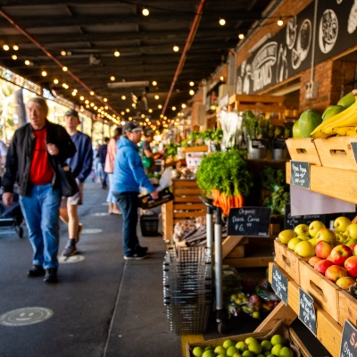 MELBOURNE, AUSTRALIA - MAY 17: Shoppers flock to the South Melbourne Market as restrictions are being eased in Victoria during COVID 19 on 17 May, 2020 in Melbourne, Australia. (Photo by Speed Media/Icon Sportswire)