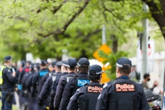 Large numbers of police are seen during the Melbourne Freedom Rally at The Shrine. Premier Daniel Andrews promises 'significant' easing of Stage 4 restrictions this weekend. This comes as only one new case of Coronavirus was unearthed over the past 24 hour and no deaths.