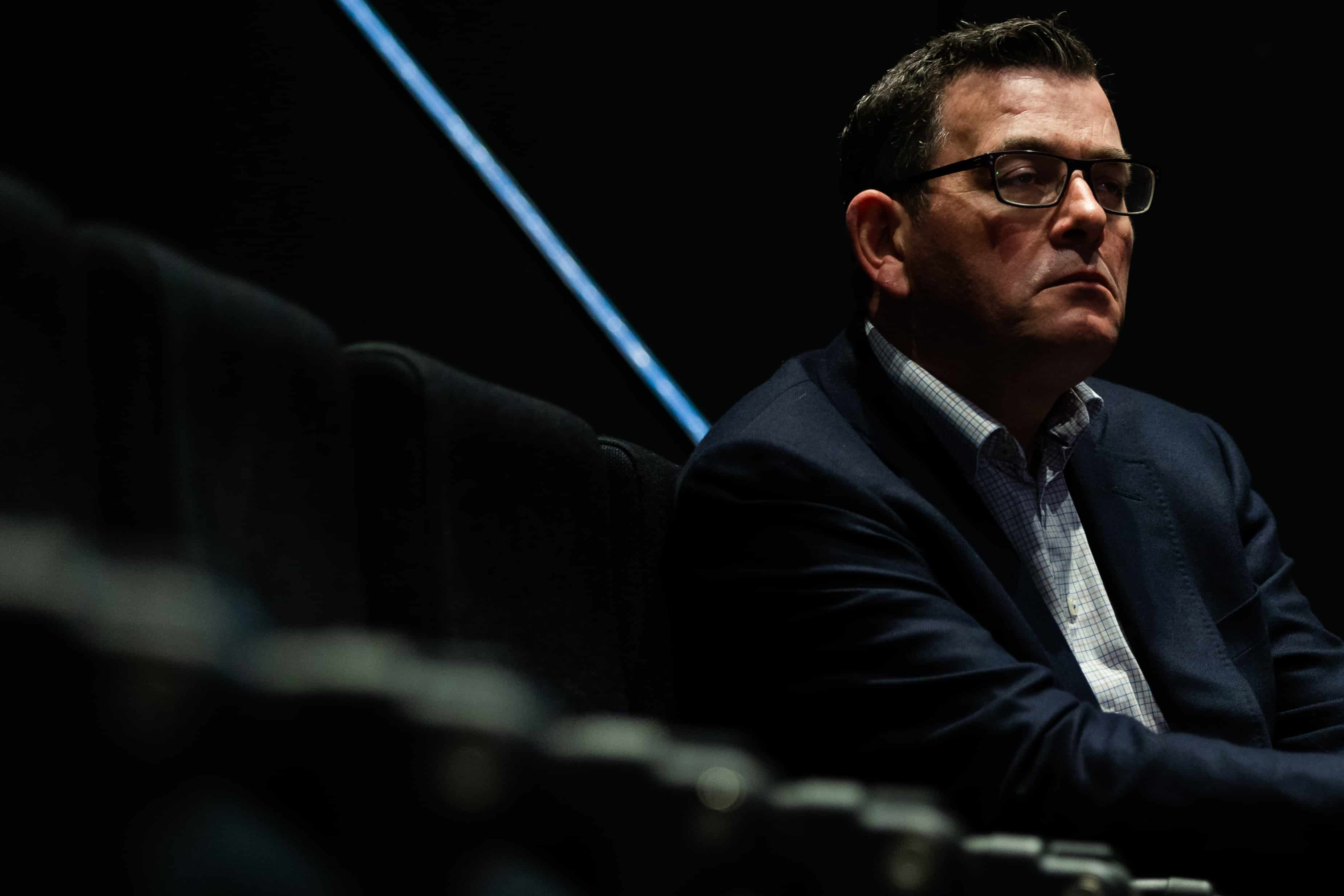 Premier Daniel Andrews sits in the Treasury Theatre during his daily press conference during the daily COVID-19 press conference. A further 300 Coronavirus cases have been discovered overnight, and a further 6 deaths bringing Victoria's active cases to over 3600.
