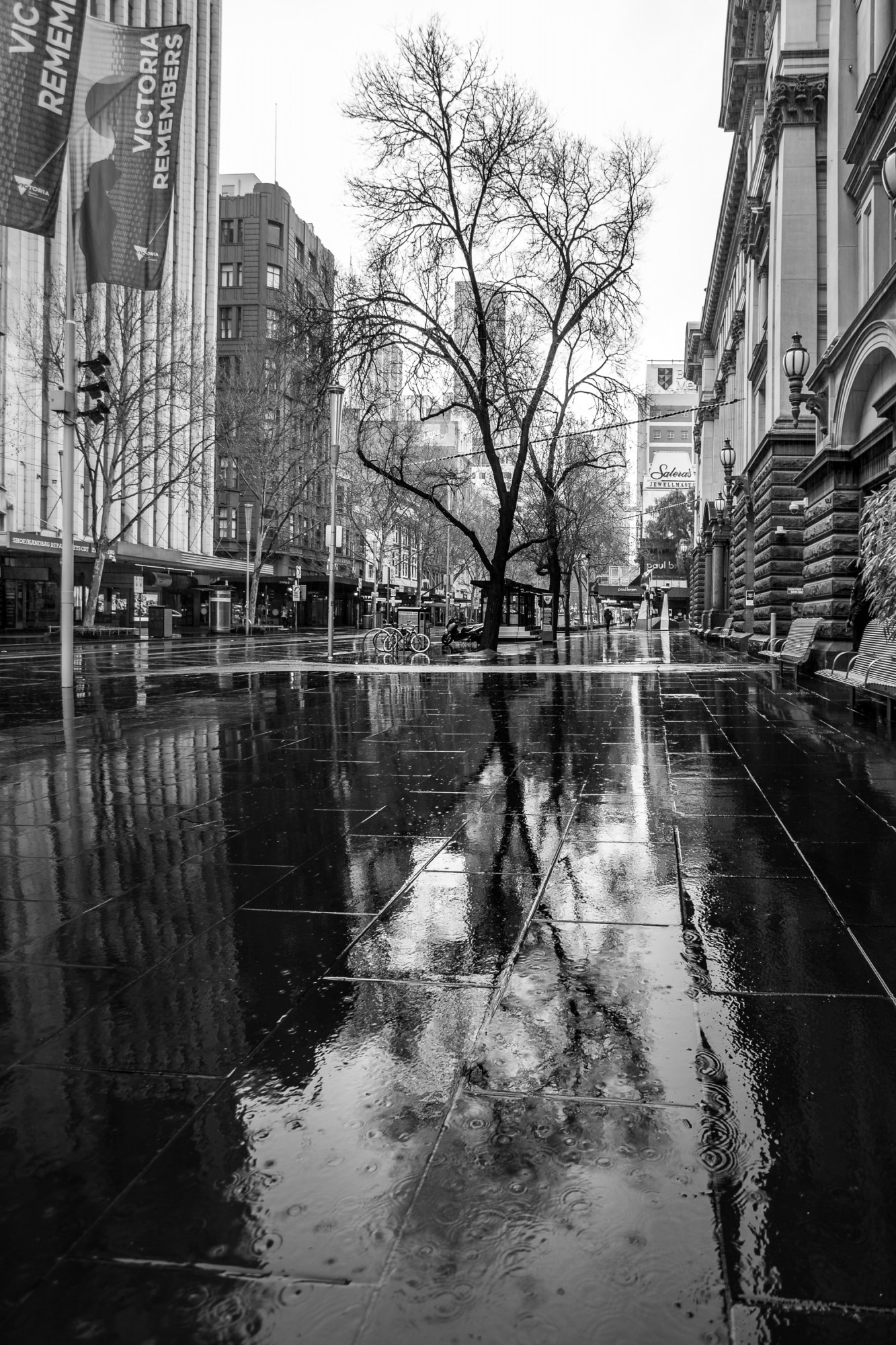 A view of a water sogged Swanston Street devoid of life during COVID-19 in Melbourne, Australia. Victoria has recorded 14 COVID related deaths including a 20 year old, marking the youngest to die from Coronavirus in Australia, and an additional 372 new cases overnight.