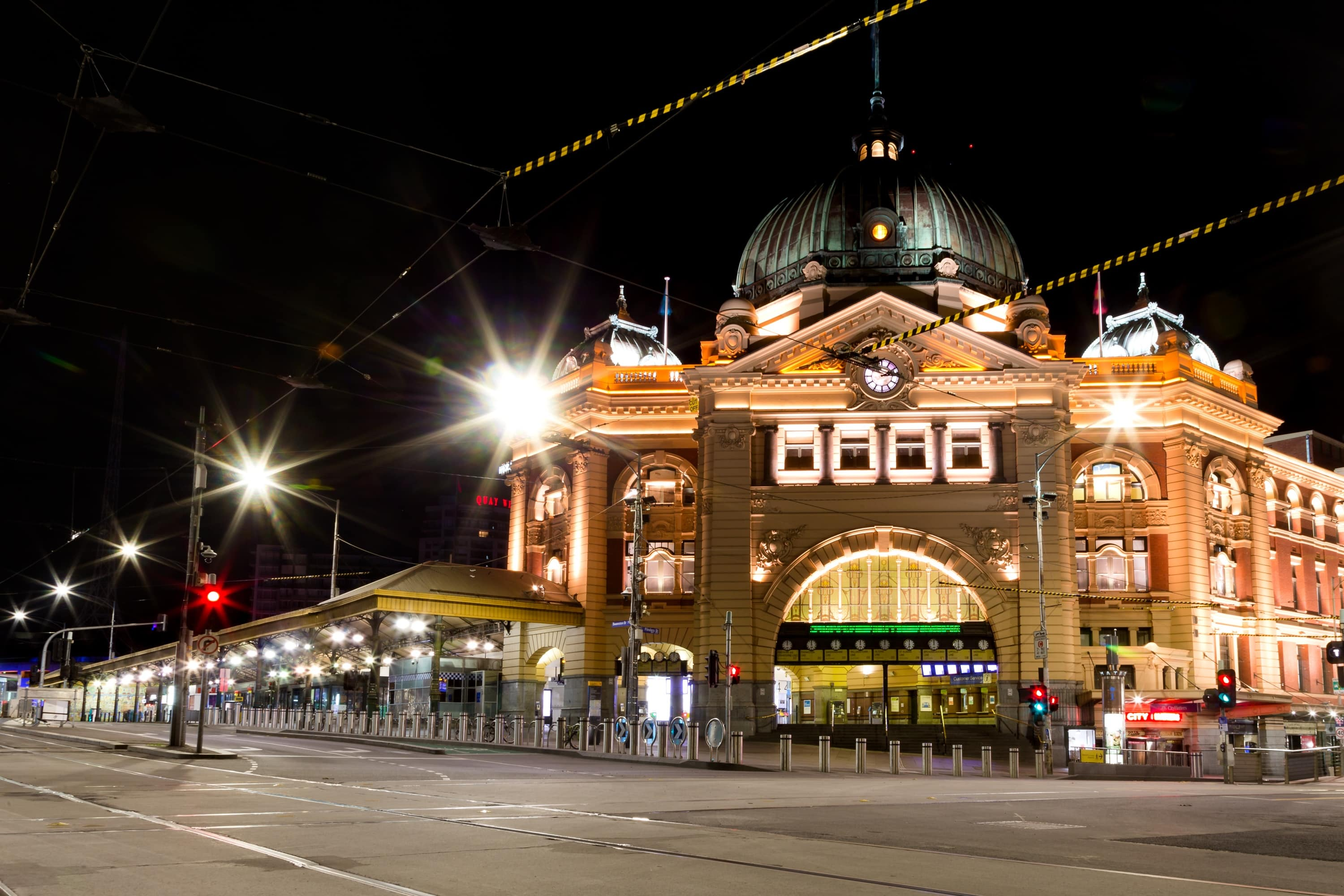 A view of Flinders Street Station under curfew during COVID-19 in Melbourne, Australia.  Opposition to Premier Daniel Andrews plans to extend Victoria's State of Emergency for another 12 months continues as he negotiates with Cross Benchers to pass the amendment. It comes as case numbers continue to fall.