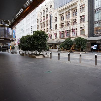 Bourke Street Mall, usually overflowing with shoppers on a Friday night, stands totally empty during COVID-19 in Melbourne, Australia. Stage 4 restrictions continue in Melbourne as life drains away from the city now that work permits are being enforced. Premier Daniel Andrews once again failed to answer questions on his administrations failures that led to over 180 deaths in his state. Victoria recorded a further 450 new COVID-19 infections along with 11 deaths overnight.