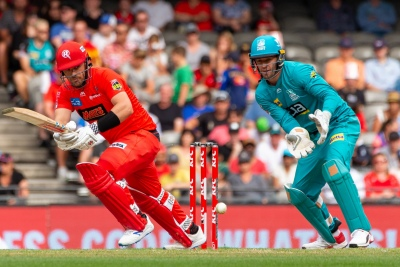 MELBOURNE, AUSTRALIA - JANUARY 27: Aaron Finch of Melbourne Renegades bats during the Big Bash League cricket match between Melbourne Renegades and Brisbane Heat at Marvel Stadium on January 27, 2020 in Melbourne, Australia. (Photo by Speed Media/Icon Sportswire)