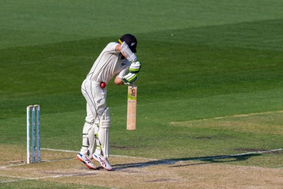 MELBOURNE, AUSTRALIA - DECEMBER 27: Tom Latham of New Zealand is stuck by the ball during day two of the Second Test match in the series between Australia and New Zealand at The Melbourne Cricket Ground on December 27, 2019 in Melbourne, Australia. (Photo by Speed Media/Icon Sportswire)
