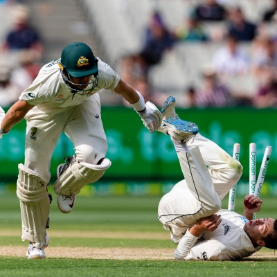 MELBOURNE, AUSTRALIA - DECEMBER 28: Marnus Labuschagne of Australia gets out during day three of the Second Test match in the series between Australia and New Zealand at The Melbourne Cricket Ground on December 28, 2019 in Melbourne, Australia. (Photo by Speed Media/Icon Sportswire)