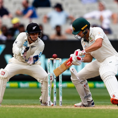 MELBOURNE, AUSTRALIA - DECEMBER 28: Joe Burns of Australia loses a wicket during day three of the Second Test match in the series between Australia and New Zealand at The Melbourne Cricket Ground on December 28, 2019 in Melbourne, Australia. (Photo by Speed Media/Icon Sportswire)
