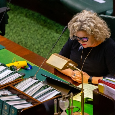 MELBOURNE, AUSTRALIA - APRIL 23: The Victorian Attorney-General, Jill Hennessy during the emergency sitting of the Victorian Parliament due to COVID 19 on 23 April, 2020 in Melbourne, Australia. (Photo by Speed Media/Icon Sportswire)