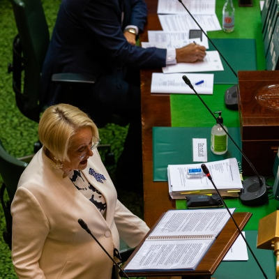 """MELBOURNE, AUSTRALIA - APRIL 23: Shadow Treasurer,  Louise Staley calls for budget oversight and accuses the government of being """"dysfunctional"""" and """"over the top"""" during Victorian Parliaments Emergency Sitting due to COVID 19 on 23 April, 2020 in Melbourne, Australia. (Photo by Speed Media/Icon Sportswire)"""