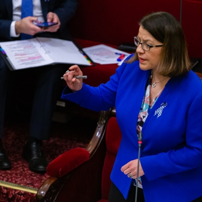 MELBOURNE, AUSTRALIA - APRIL 23: The Health Minister, Jenny Mikakos answers questions in the Legislative Council during the Victorian Parliaments emergency sitting due to COVID 19 on 23 April, 2020 in Melbourne, Australia. (Photo by Speed Media/Icon Sportswire)