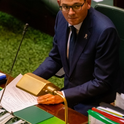 MELBOURNE, AUSTRALIA - APRIL 23: Premier Daniel Andrews during Question time in an emergency sitting to pass COVID-19 related legislation on 23 April, 2020 in Melbourne, Australia. (Photo by Speed Media/Icon Sportswire)
