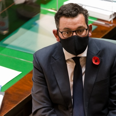 MELBOURNE, AUSTRALIA - NOVEMBER 10: Daniel Andrews wears a mask in the chamber as he looks on during Question Time on 10 November, 2020 in Melbourne, Australia. COVID-19 restrictions have eased further across Victoria, with the metro-regional border and 25km travel limit from home no longer in force. (Photo by Speed Media/Icon Sportswire)