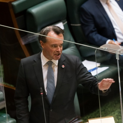 MELBOURNE, AUSTRALIA - NOVEMBER 10: Opposition Leader Michael O'Brien attacks the Government during Question Time on 10 November, 2020 in Melbourne, Australia. COVID-19 restrictions have eased further across Victoria, with the metro-regional border and 25km travel limit from home no longer in force. (Photo by Speed Media/Icon Sportswire)