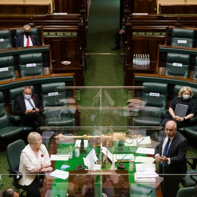 MELBOURNE, AUSTRALIA - NOVEMBER 10: Members of Parliament yell across the table during Question Time on 10 November, 2020 in Melbourne, Australia. COVID-19 restrictions have eased further across Victoria, with the metro-regional border and 25km travel limit from home no longer in force. (Photo by Speed Media/Icon Sportswire)