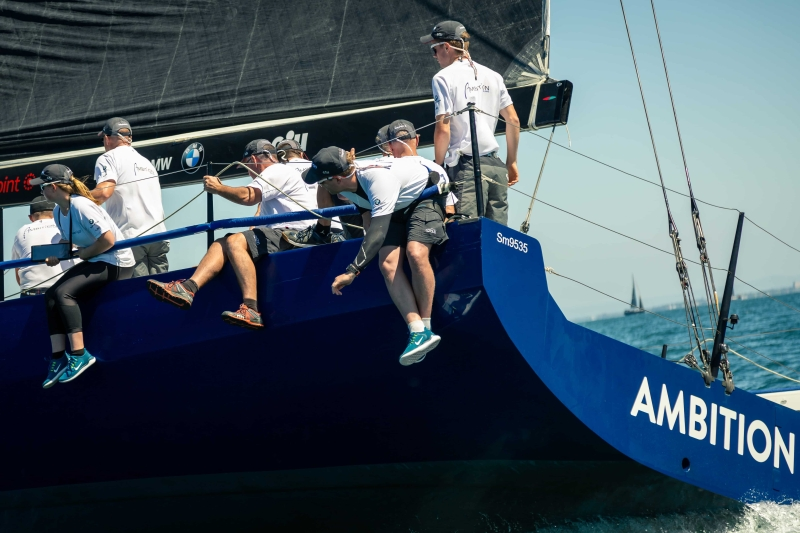 MELBOURNE, AUSTRALIA - 26 DECEMBER: Skipper Chris Dare on 'Ambition' during the 2018 Cock of the Bay yacht race , Australia on December 26 2018.